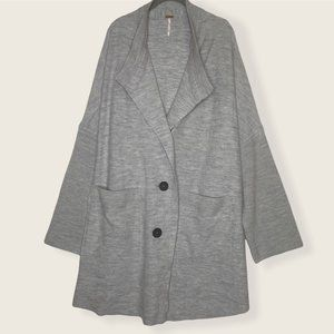 NWT Free People 100% Wool Gray Oversized Sweater Coat - Size Small